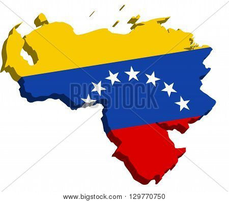 A map of Venezuela 3D with flag on white background