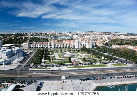 Jeronimos or Hieronymites Monastery monument from year 1600 and Imperio or Empire Square park public landmark in street of Belem Lisbon city Portugal Europe