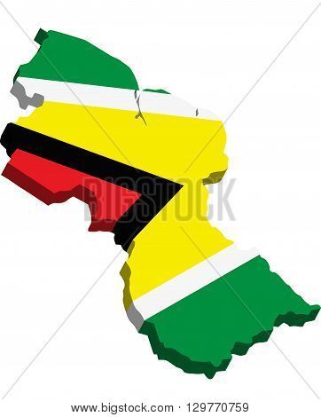 A map of Guyana 3D with flag on white background