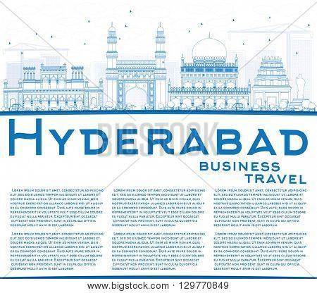 Outline Hyderabad Skyline with Blue Landmarks and Copy Space. Vector Illustration. Business Travel and Tourism Concept with Historic Buildings. Image for Presentation Banner Placard and Web Site.