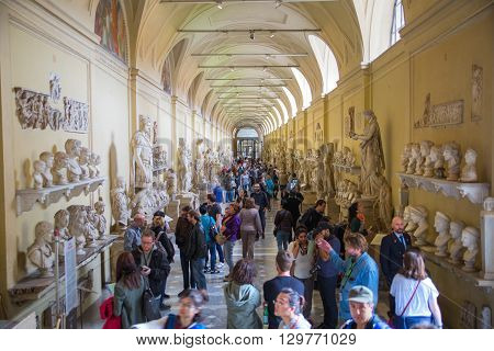 ROME, ITALY - APRIL 8, 2016: Roman marble sculptures from Museums of Vatican. Exhibition hall