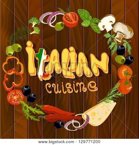 Italian cuisine food circle frame background. Hand Drawn pizza ingredients on wooden texture background. Health natural organic vegetables for cooking pizza. Italian restaurant design.
