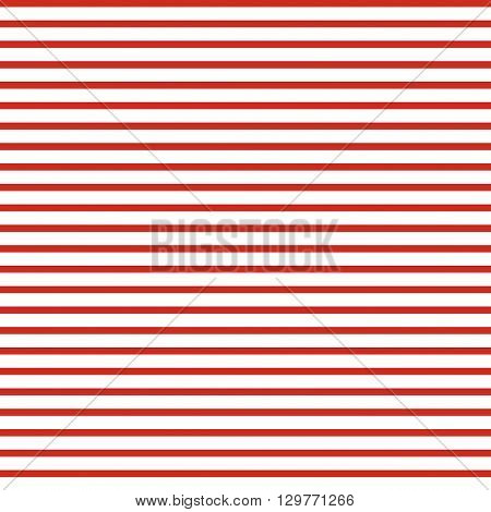 Horizontal striped seamless vector pattern. Red strips on white background. Simple minimal linear design.