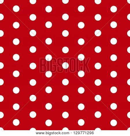 Polka dot seamless pattern background. White polka dots on red background. Simple retro trendy design. Vector illustration.