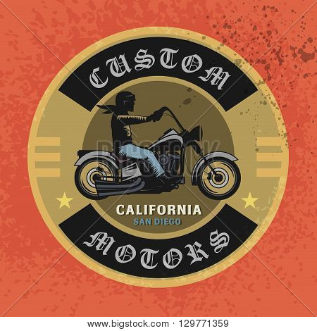 Vintage Motorcycle sport label with text Custom Motors, vector illustration