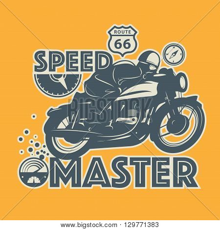 Vintage Motorcycle sport label with text Speed Master, vector illustration