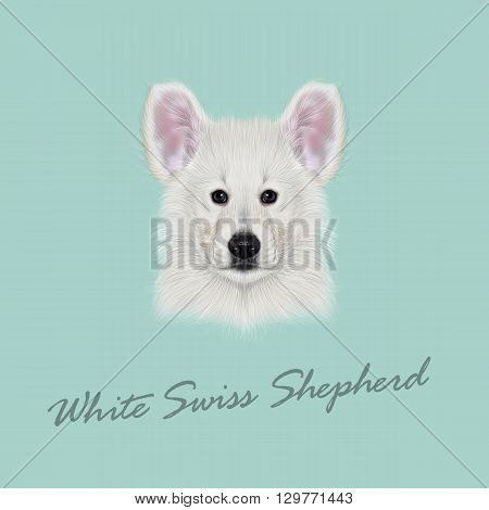 Vector Illustrated Portrait of White Swiss Shepherd dog. Cute white fluffy face of domestic puppy on blue background.