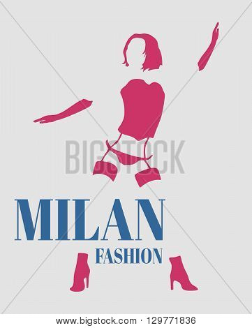 Sexy woman silhouette underwear fashion. Woman underwear. Milan fashion text