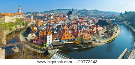 Panoramic view of bend of river Vltava and historical centre of beautiful Czech city Cesky Krumlov