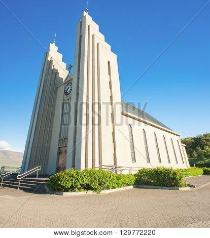 Lutheran cathedral in Akureyri ( Akureyrarkirkja ). Iceland.