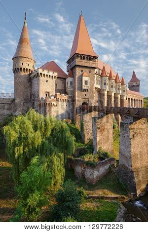 Corvin Castle in Hunedoara is built in Renaissance-Gothic, Romania