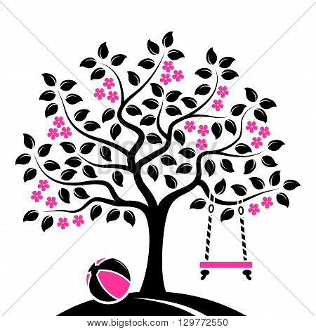 vector flowering tree with swing and ball isolated on white background