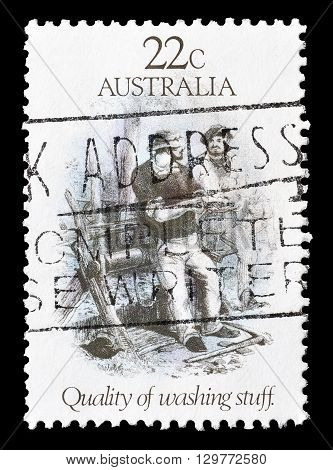 AUSTRALIA - CIRCA 1981 : Cancelled postage stamp printed by Australia, that shows Quality of washing stuff.