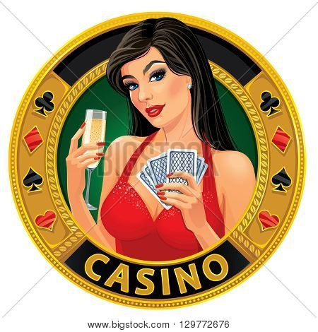 Vector illustration. Beautiful young lady in red dress holding playing cards and glass of champagne. Сoncept design for a casino advertising