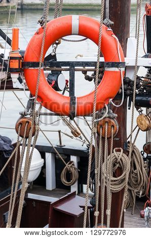 Buoy and rigging on an old ship