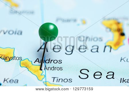 Andros pinned on a map of Greece