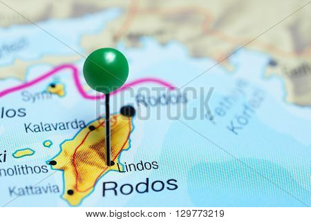 Lindos pinned on a map of Greece