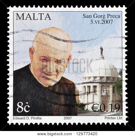 MALTA - CIRCA 2007 : Cancelled postage stamp printed by Malta, that shows Saint Gorg Preca.