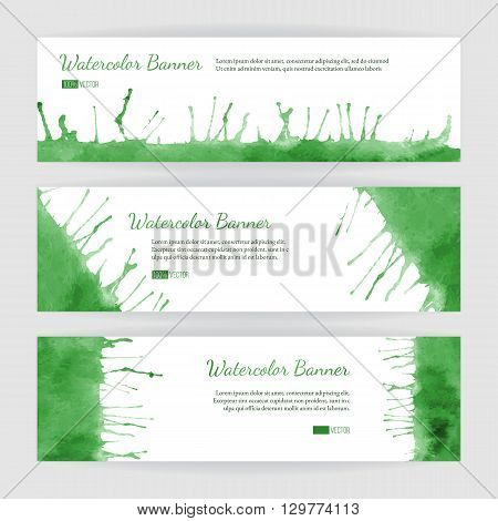 Set of hand painted watercolor horizontal banners headers. Colorful abstract green spring summer brush stocks and splashes on a white backgrounds. Modern graphic design template. Marketing concept