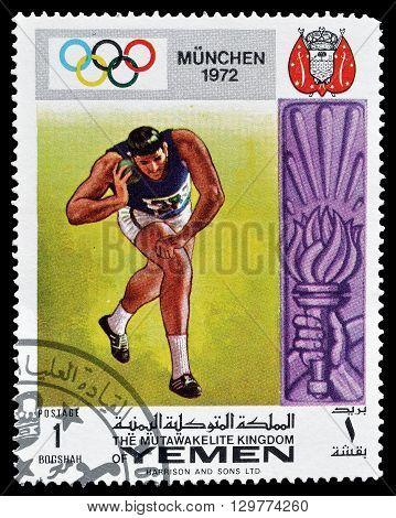 YEMEN - CIRCA 1972 : Cancelled postage stamp printed by Yemen, that shows Shot put.