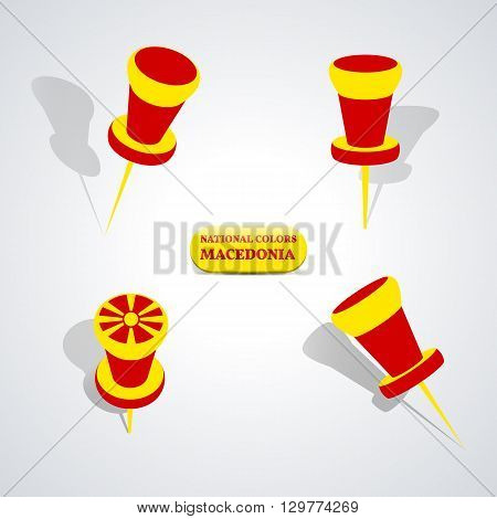 Set of pushpin in the national colors of Macedonia vector illustration.