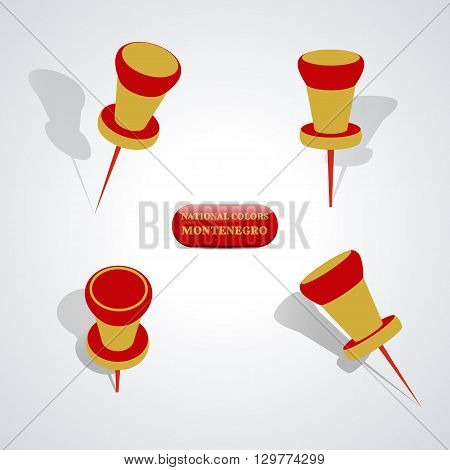 Set of pushpin in the national colors of Montenegro vector illustration.