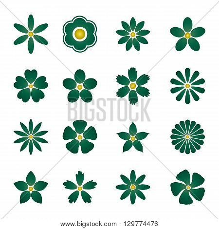 Color Flower buds vector design elements isolated on white background.