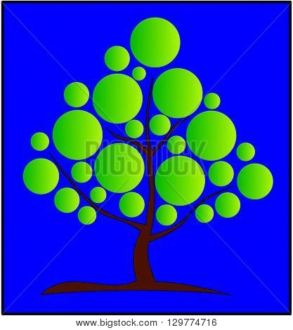deciduous tree ,vector, green tree with a brown trunk