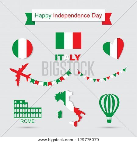 Italy flag, banner and icon patterns set illustration. Independence Day of France, symbols. Coliseum icon