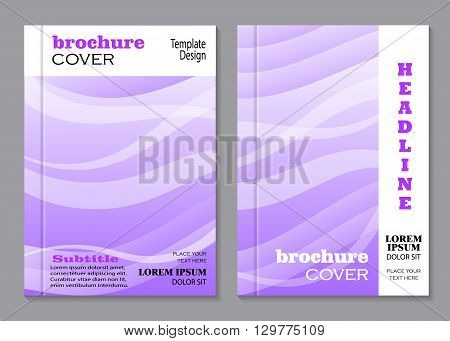 Modern vector templates for brochure cover in A4 size. Beautiful waved pattern on violet background.