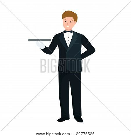 Worker waiter at restaurant isolated. man with a tray vector illustration