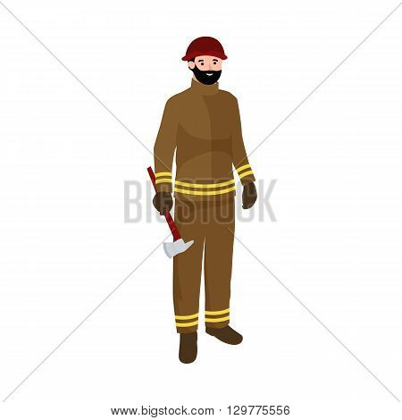 Professions firefighter man. Worker peoples team isolated vector illustration. Peoples different professions.