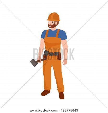 Man worker, profession people uniform, cartoon vector illustration, Worker plumber