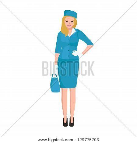 Vector blonde woman stewardess in blue uniform, Female worker vector illustration
