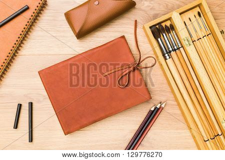 Black Chalk Sticks And Notepad
