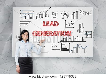 Lead generation concept with businesswoman presenting business charts on whiteboard