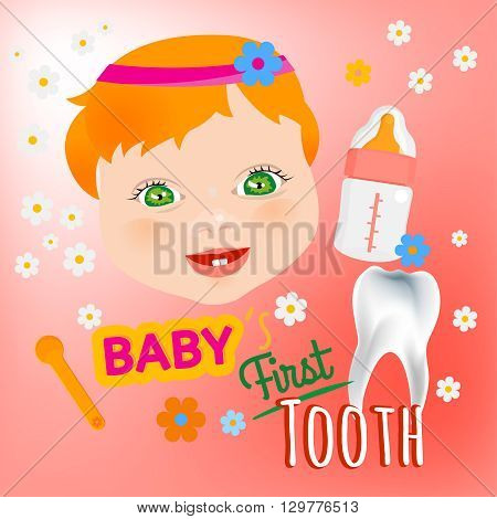 Editable vector illustration. Cute baby girl face with first teeth on a light pink background. Tooth eruption concept with  European baby portrait  in a flat style