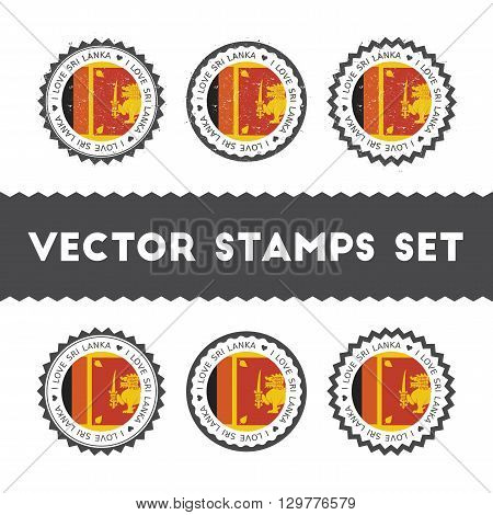 I Love Sri Lanka Vector Stamps Set. Retro Patriotic Country Flag Badges. National Flags Vintage Roun