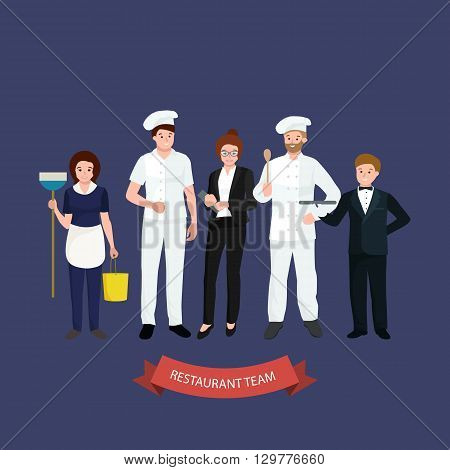 Restaurant team with Man cooking chef and manager peoples, waiter man and cleaning woman. Isolated vector illustration.