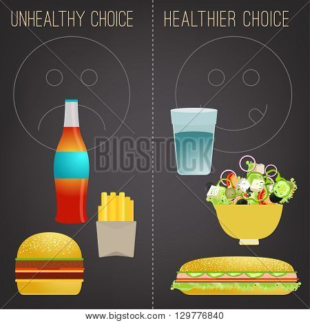 Proper nutrition concept. Comparison of unhealthy and healthier choices. Editable vector image in modern flat style on a dark gray background. Eat a healthy diet and prevent obesity.