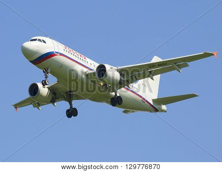 SAINT PETERSBURG, RUSSIA - JUNE 29, 2015: Flying the Airbus A319-114 VP-BIU) airlines Russia