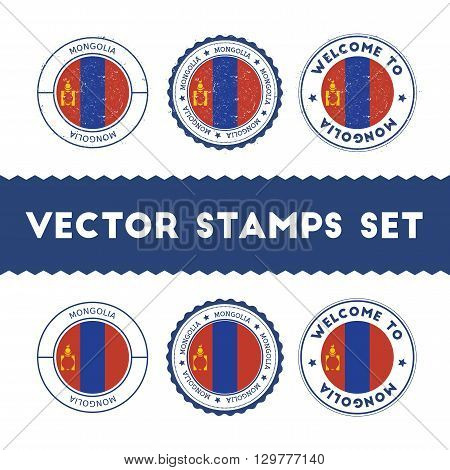 Mongolian Flag Rubber Stamps Set. National Flags Grunge Stamps. Country Round Badges Collection.