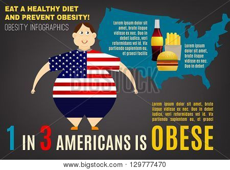 World obesity increase concept. Editable vector illustration in bright colors on a dark gray background. Statistic information. Medical poster, leaflet or other landscape layout template.