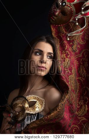 Beautiful Woman With Gold Carnival Masks
