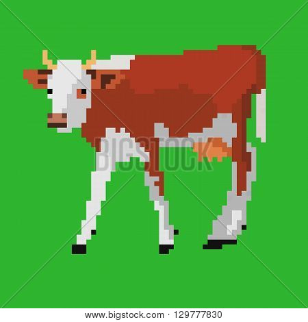 Pixel art vector illustration of dairy cow