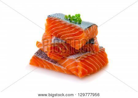 Salmon fillet   on white background. Fresh raw salmon fillet.