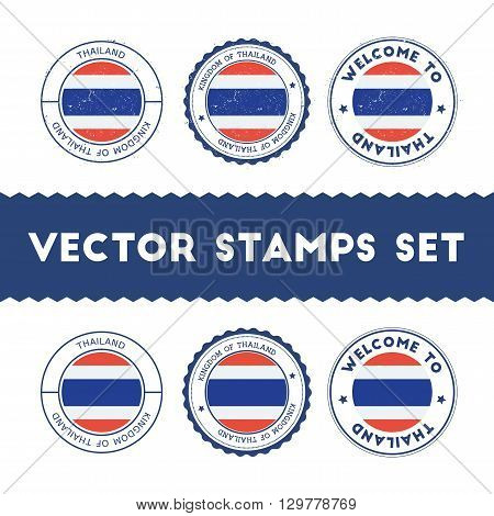 Thai Flag Rubber Stamps Set. National Flags Grunge Stamps. Country Round Badges Collection.