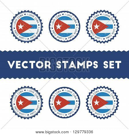 I Love Cuba Vector Stamps Set. Retro Patriotic Country Flag Badges. National Flags Vintage Round Sig