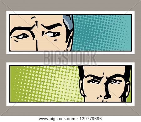 Pop art banner with male eyes and blank space for text. Cartoon man eyes. Vintage advertising poster. Comic hand drawn vector illustration.
