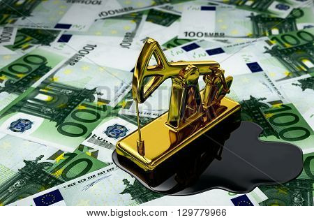 Golden Pumpjack And Spilled Oil Over Euros. 3D Illustration.